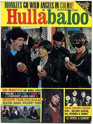 Hullabaloo Magazine February 1968 Doors Beatles Monkees Rascals Box Tops Cowsills Jefferson Airplane