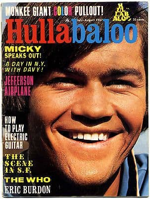 Hullabaloo Magazine July 1967 Who Doors Animals Jefferson Airplane Eric Burdon Monkees