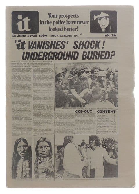 International Times No 58 June 13-28, 1969 Frank Zappa King Crimson Pete Townsend/Tommy/Who Oz East