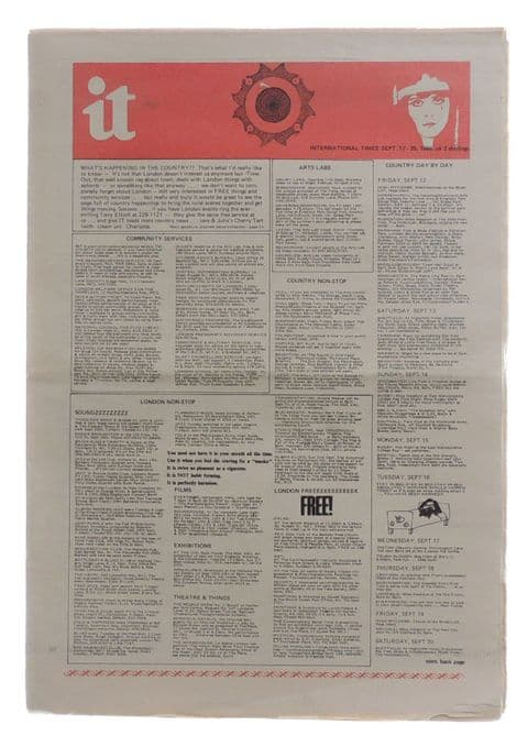 International Times No 64 September 12-25, 1969 Apple Hare Krishna advert Bob Dylan Jerry Cornelius