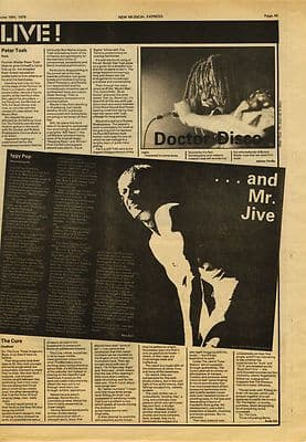 Iggy Pop CURE PETER TOSH Live reviews Music Press article/cutting/clipping 1979