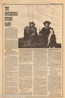 Incredible String Band Original UK Vintage Music Press Article cutting/clipping 1969