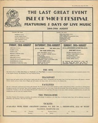 Isle of Wight Festival Full Page Ticket advert Music Press article/cutting/clipping 1970