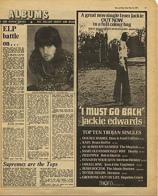 JACKIE EDWARDS January Advert ELP LP Review Music Press Article/cutting/clipping 1971