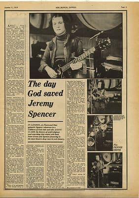 JEREMY SPENCER Fleetwood Mac Interview Vintage Music Press Article/cutting/clipping 1974