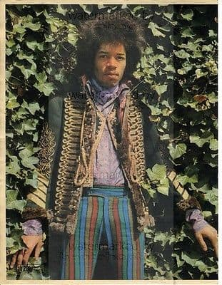 Jimi Hendrix size approx 10X13 inch pinup poster size press cutting/clipping 1966