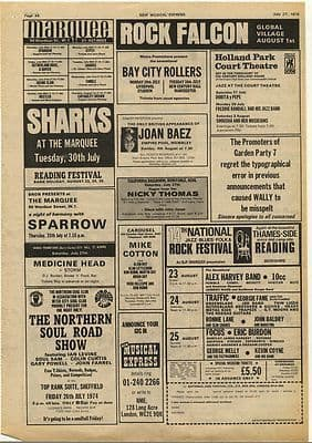 JOAN BAEZ Bay City Rollers SHARKS Music Press Article/cutting/clipping Gig adverts 1974