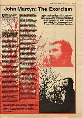 JOHN MARTYN 2 page Interview Music Press article/cutting/clipping 1980