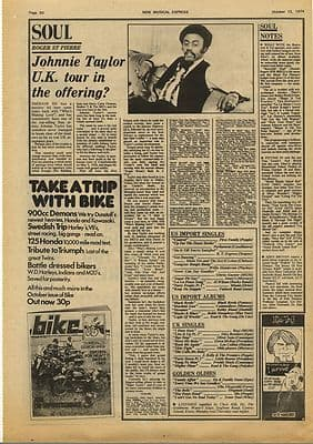 JOHNNIE TAYLOR Vintage Music Press Article/cutting/clipping 1974