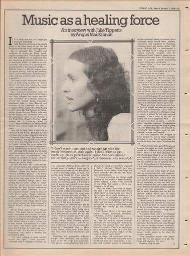 JULIE TIPPETTS Press Interview Article/cutting/clipping 1976 Music as a healing force