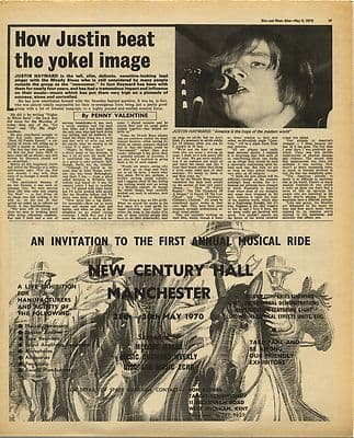JUSTIN HAYWARD Interview MOODY BLUES Vintage Music Press Article/cutting/clipping 1970