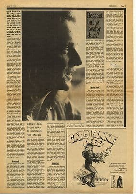 Jack Bruce Interview Vintage Music Press Article/cutting/clipping 1973