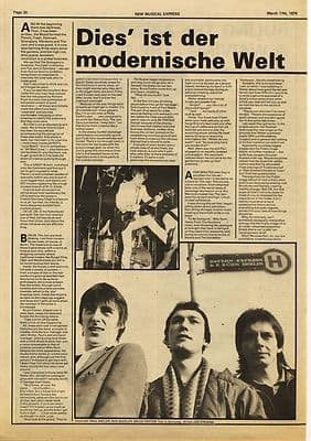 Jam PAUL WELLER 2 page interview Music Press article/cutting/clipping 1979