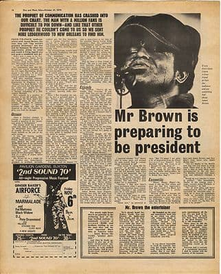 James Brown Interview Vintage Music Press Article/cutting/clipping 1970