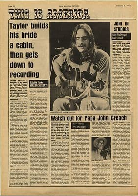 James Taylor Builds his bride a cabin Vintage Music Press Article/cutting/clipping 1973