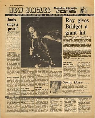 Janis Joplin RAY STEVENS DAVE DEE 45 reviews Music Press Article/cutting/clipping 1970