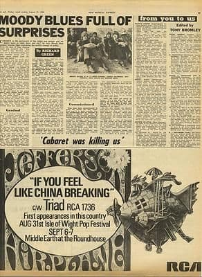 Jefferson Airplane If you feel like... Original Vintage music Press cutting/clipping 1968
