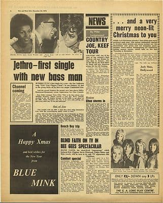 Jethro Tull BLIND FAITH Vintage Music Press Article/cutting/clipping 1970