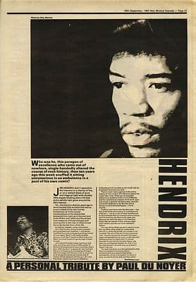 Jimi Hendrix 2 page tribute Vintage Music Press article/cutting/clipping 1980