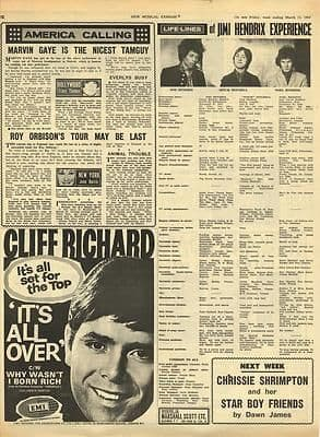 Jimi Hendrix Cliff Richard Vintage Music Press article/cutting/clipping 1967