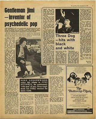 Jimi Hendrix Tribute 1 week after death Vintage Music Press Article/cutting/clipping 1970