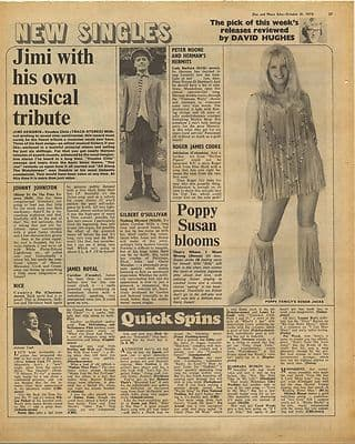 Jimi Hendrix Voodoo Chile review Vintage Music Press Article/cutting/clipping 1970