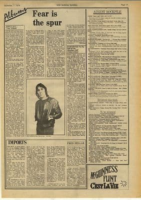 John Cale Hawkwind LP Reviews Vintage Music Press Article/cutting/clipping 1974