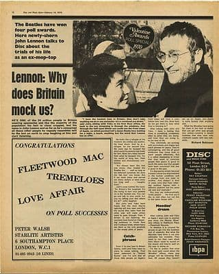 John Lennon Valentine Awards Poll Speci Vintage Music Press Article/cutting/clipping 1970