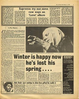 Johnny Winter Interview SUPREMES Vintage Music Press Article/cutting/clipping 1971