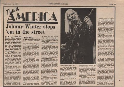 Johnny Winter Stops 'em in the street Music Press Article/cutting/clipping 1973