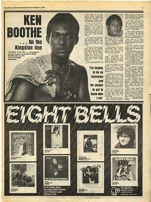 KEN BOOTHE Interview Music Press article/cutting/clipping 1974
