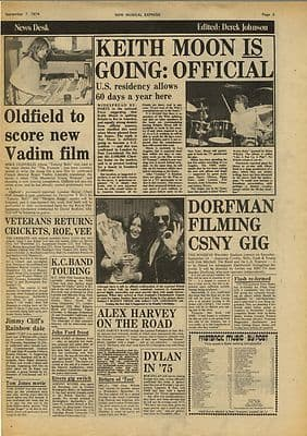 Keith Moon The Who MIKE OLDFIELD CSN&Y Vintage Music Press Article/cutting/clipping 1974