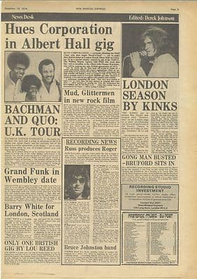 KinksStatus Quo Gong News articles Vintage Music Press article/cutting/clipping 1974