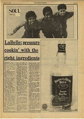 LABELLE Vintage Music Press Article/cutting/clipping 1974