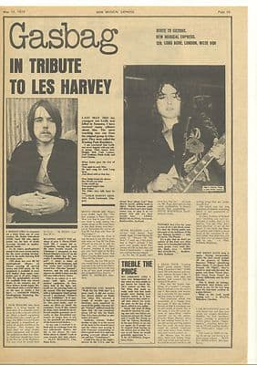 LES HARVEY Tribute Vintage Music Press article/cutting/clipping 1973