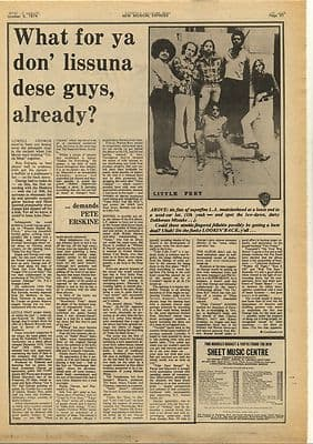 LITTLE FEAT LOWELL GEORGE Vintage Music Press Article/cutting/clipping 1974