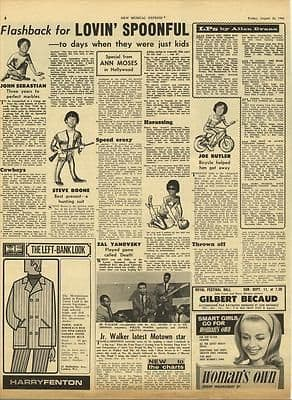 LOVIN' SPOONFUL Vintage Music Press article/cutting/clipping 1966