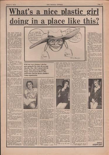 LULU What's a nice plastic girl doing....full page Music PreArticle/cutting/clipping 1974
