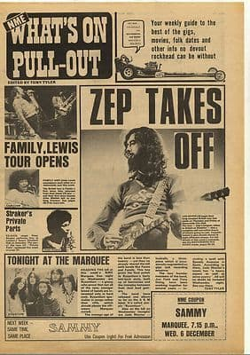 Led Zeppelin Gig Guide cover Vintage Music Press Article/cutting/clipping 1972