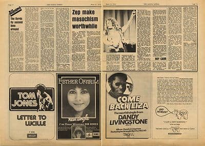 Led Zeppelin Houses of Holy LP Review Vintage Music Press Article/cutting/clipping 1973