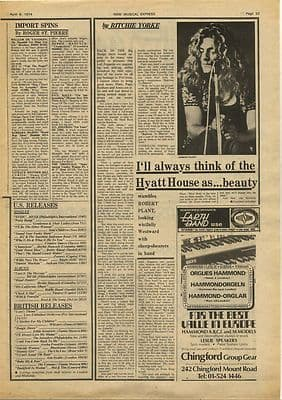 Led Zeppelin ROBERT PLANT Interview 1974 Vintage Music Press Article/cutting/clipping