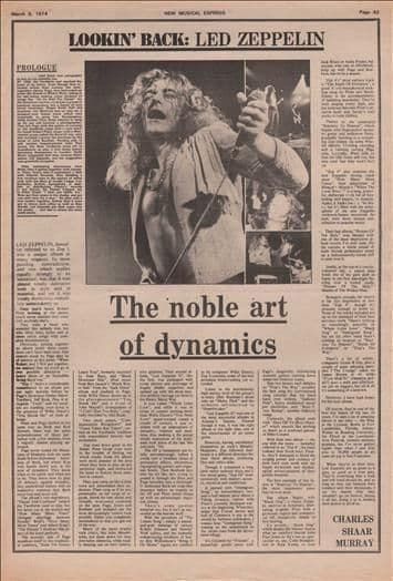 Led Zeppelin The noble art of dynamics full page Article/cutting/clipping 1974