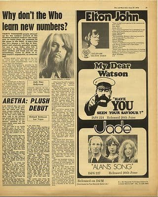 Leon Russell ARETHA FRANKLIN Vintage Music Press Article/cutting/clipping 1970