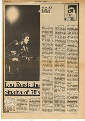 Lou Reed Sinatra of the 70s Interview Vintage Music Press Article/cutting/clipping 1973