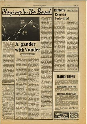 MAGMA Christian Vander Vintage Music Press Article/cutting/clipping 1974