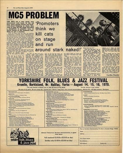 MC5 Problem-Interview Vintage Music Press article cutting/clipping 1970