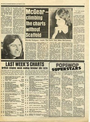 MIKE McGEAR ANDY KIM Interview Music Press article/cutting/clipping 1974