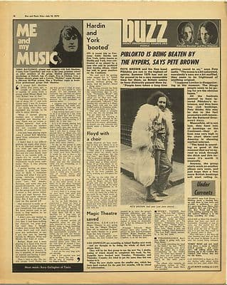 MIKE RATLEDGE SOFT MACHINE PETE BROWN Vintage Music Press Article/cutting/clipping 1970