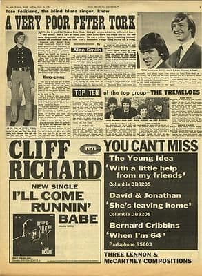 MONKEES PETER TORK Vintage Music Press article/cutting/clipping 1967