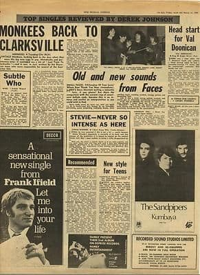 MONKEES Small Faces Stevie Wonder Vintage Music Press article/cutting/clipping 1969